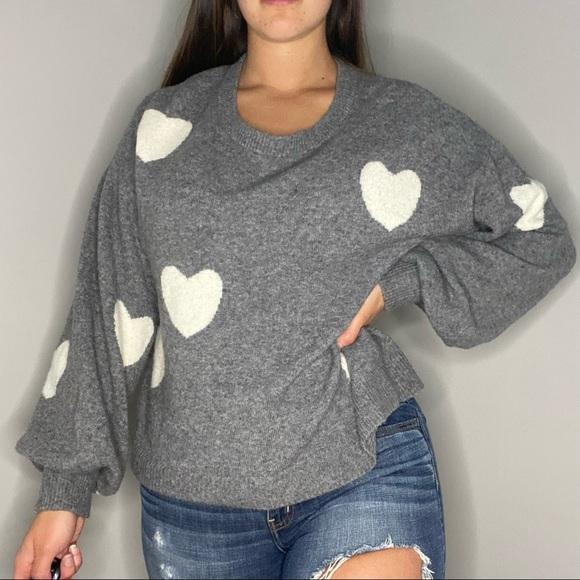 Madewell oversized graphic heart sweater M